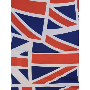 Mesh Panel Sleeveless Union Flag Patriotic Dress - RED/WHITE/BLUE L