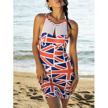 Mesh Panel Sleeveless Union Flag Patriotic Dress
