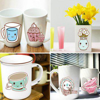 Lovely Cartoon Tablewares Pattern Wall Sticker For Kitchen Cabinet Decoration - COLORMIX