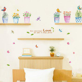 Stylish Hand painted Bonsai Pattern Wall Sticker For Bedroom Livingroom Decoration - COLORMIX