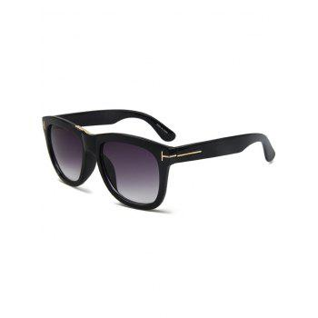 Chic Letter T Bright Black Square Sunglasses For Women