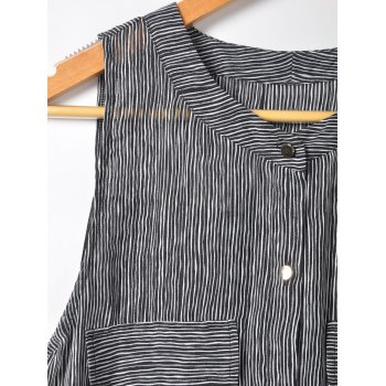 Simple Design Women's Slimming Scoop Neck Pinstripe Print Blouse - BLACK L