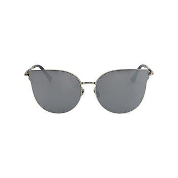 Chic Silver-Rim Cat Eye Sunglasses For Women - SILVER GRAY