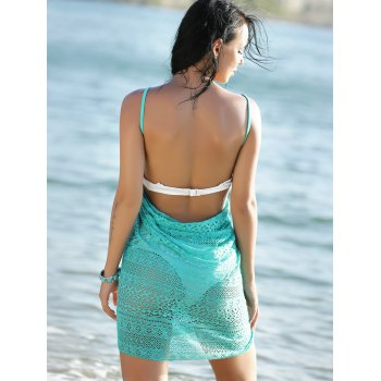 Women's Guipure Backless Openwork Cover-Up - GREEN ONE SIZE(FIT SIZE XS TO M)