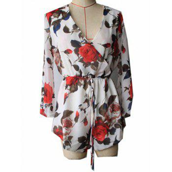 Fashion Plunging Neck Long Sleeve Floral Drawstring Romper For Women