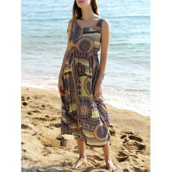 Trendy Sleeveless Printed Women's Long Dress