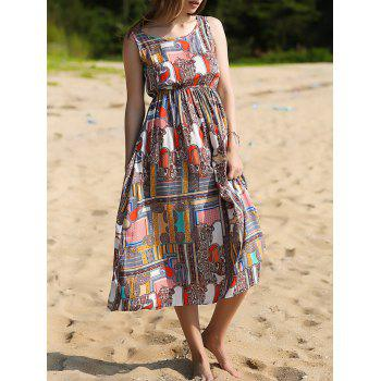 Trendy Sleeveless Printed Women's Bohemian Dress