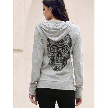 Stylish Hooded Long Sleeve Skull Pattern Solid Color Women's Hoodie - GRAY L