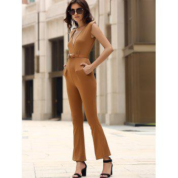 Epaulet Pockets High Waist Surplice Jumpsuit - KHAKI L