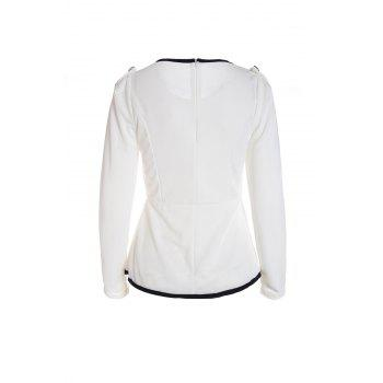 Elegant Style Round Collar Narrow Waist Flouncing Hem Long Sleeve Cotton Blend Women's Blouse - WHITE ONE SIZE