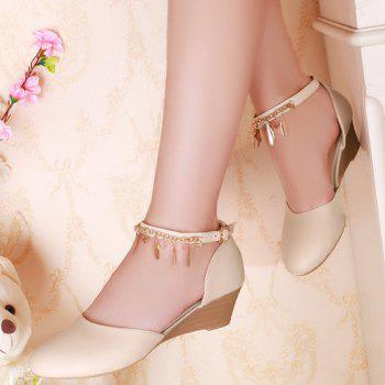 Stylish Ankle Strap and Pendant Design Women's Wedge Shoes - OFF WHITE 39