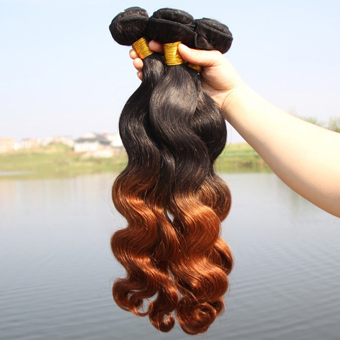 Women's Ombre Body Wavy 1 Pcs 6A Virgin Hair Brazil Human Hair Weave - OMBRE 10INCH