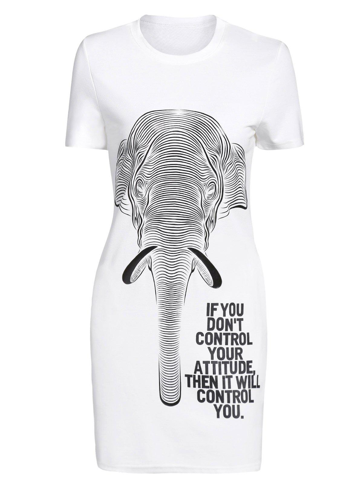 Casual Women's Short Sleeve Letter Elephant Print Dress - WHITE ONE SIZE(FIT SIZE XS TO M)