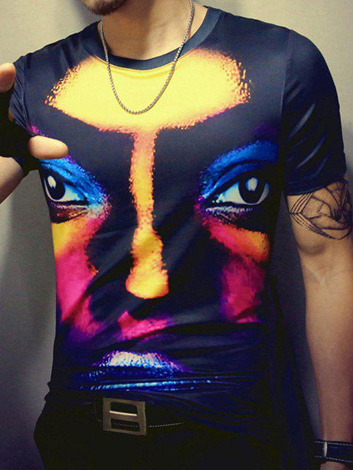 3D Face Print Round Neck Short Sleeve Men's T-Shirt