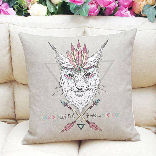 National Flavor Totem Cat Pattern Square Shape Pillowcase (Without Pillow Inner) - LIGHT GRAY