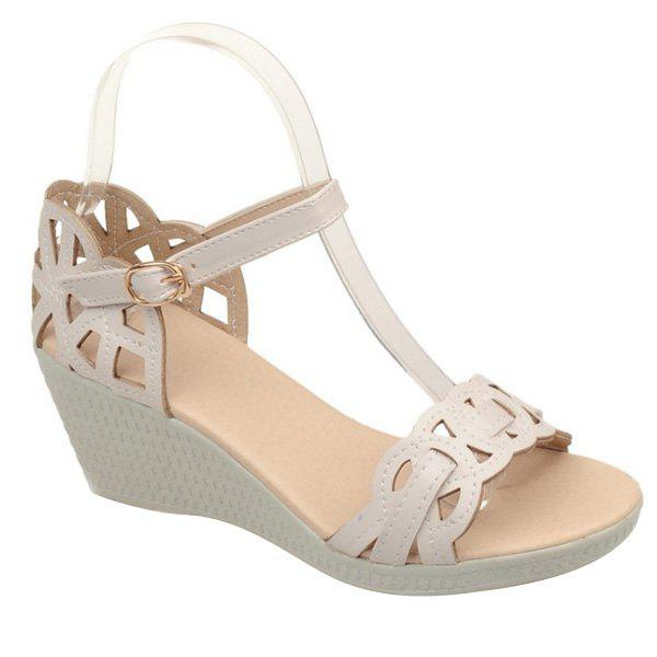 Casual Hollow Out and Platform Design Women's Sandals - OFF WHITE 37