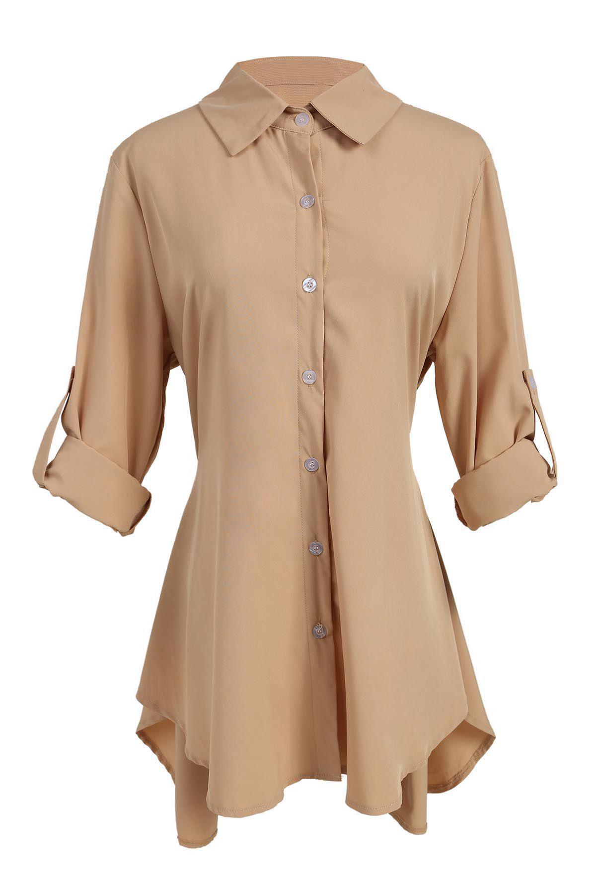 Chic Long Sleeve Shirt Collar Asymmetrical Solid Color Women's Dress - KHAKI XL