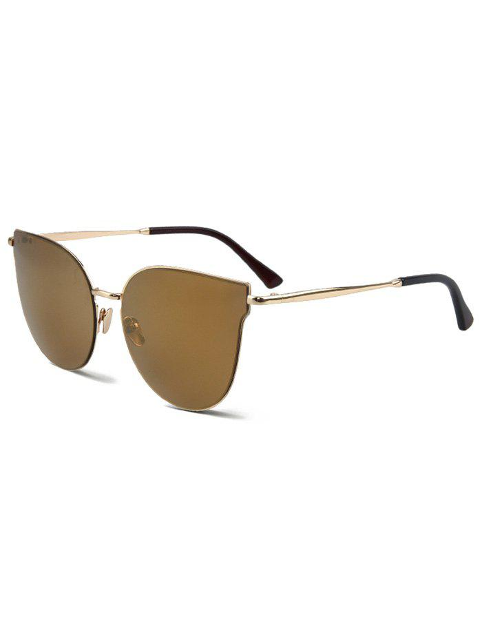 Chic Golden-Rim Cat Eye Sunglasses For Women - LIGHT COFFEE