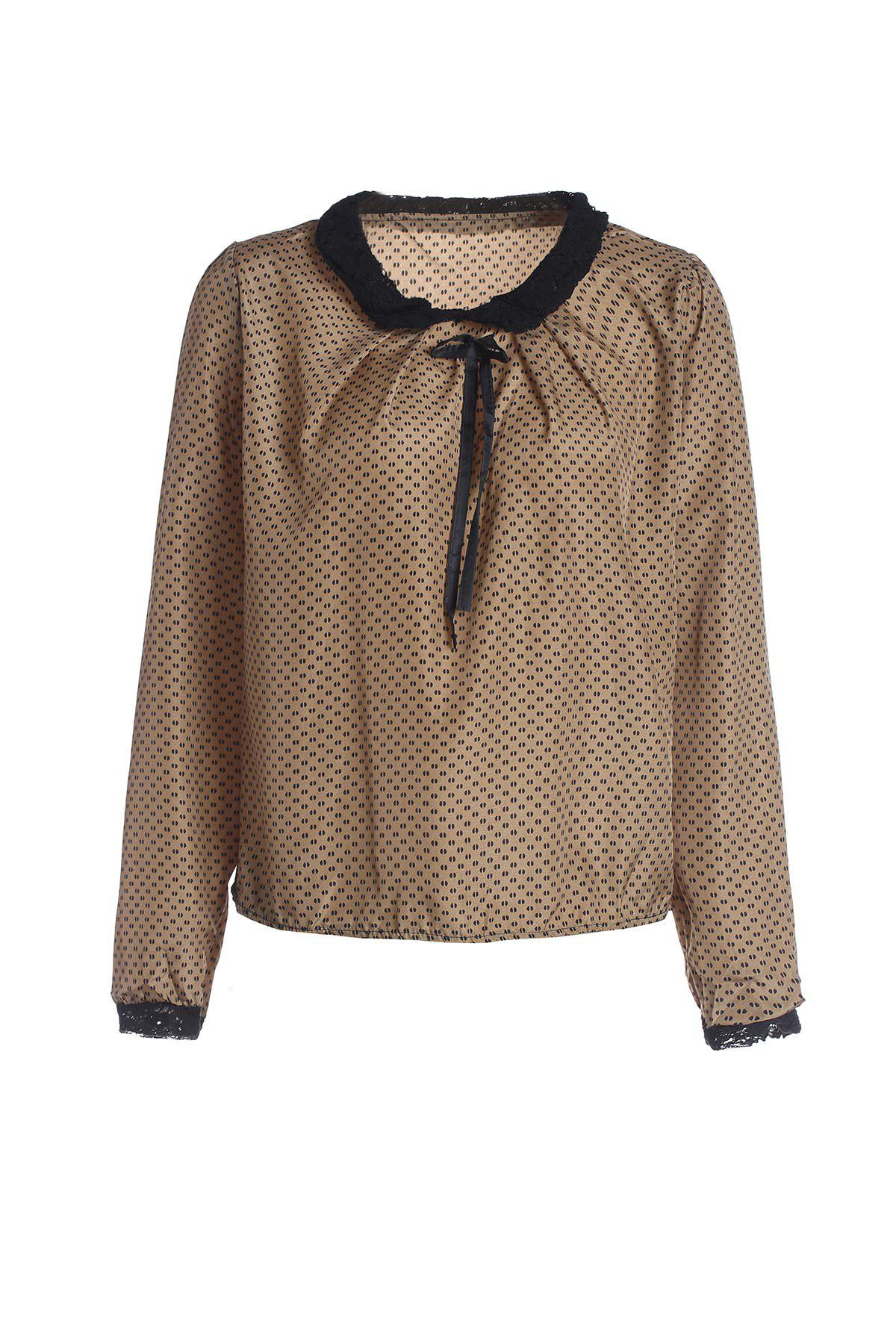 Double Lace With Belt Collar Polka Dot Deisgn Long Sleeves Blended Women's Blouse - COFFEE ONE SIZE(FIT SIZE XS TO M)