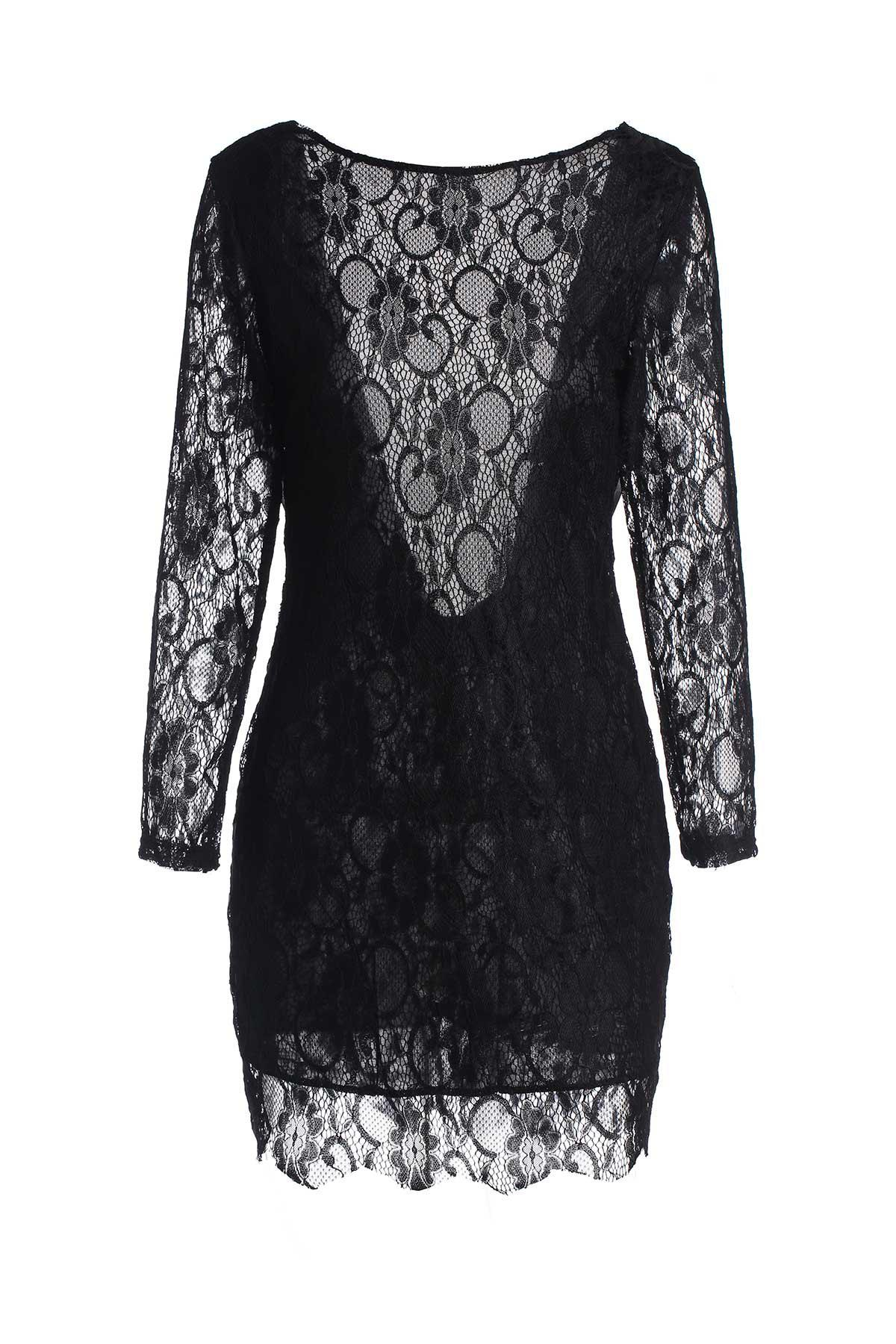 Elegant Jewel Neck Long Sleeve Backless Lace Dress For Women