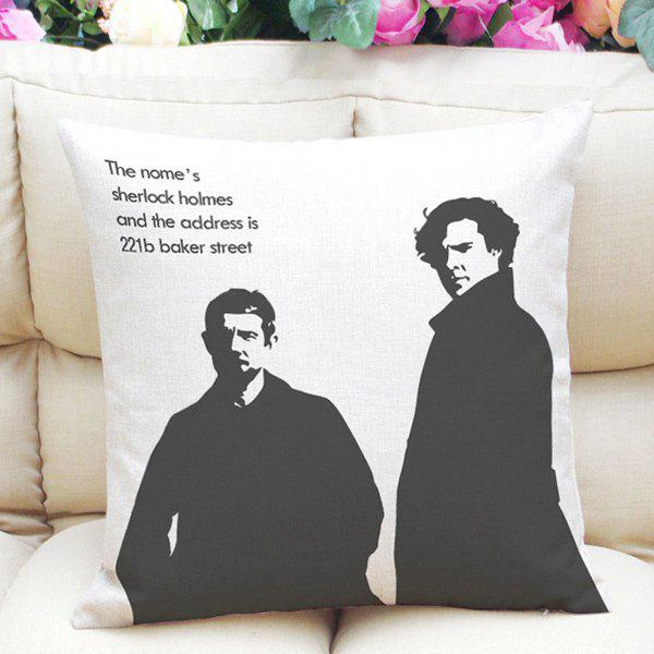 Hot Sale Sherlock and Watson Pattern Square Shape Pillowcase (Without Pillow Inner) - WHITE/BLACK