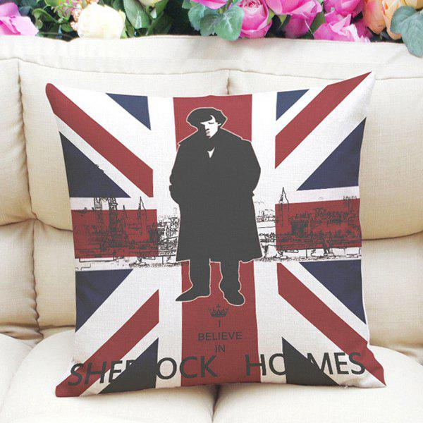 Hot Sale Sherlock Holmes Union Jack Pattern Square Shape Pillowcase (Without Pillow Inner) - COLORMIX