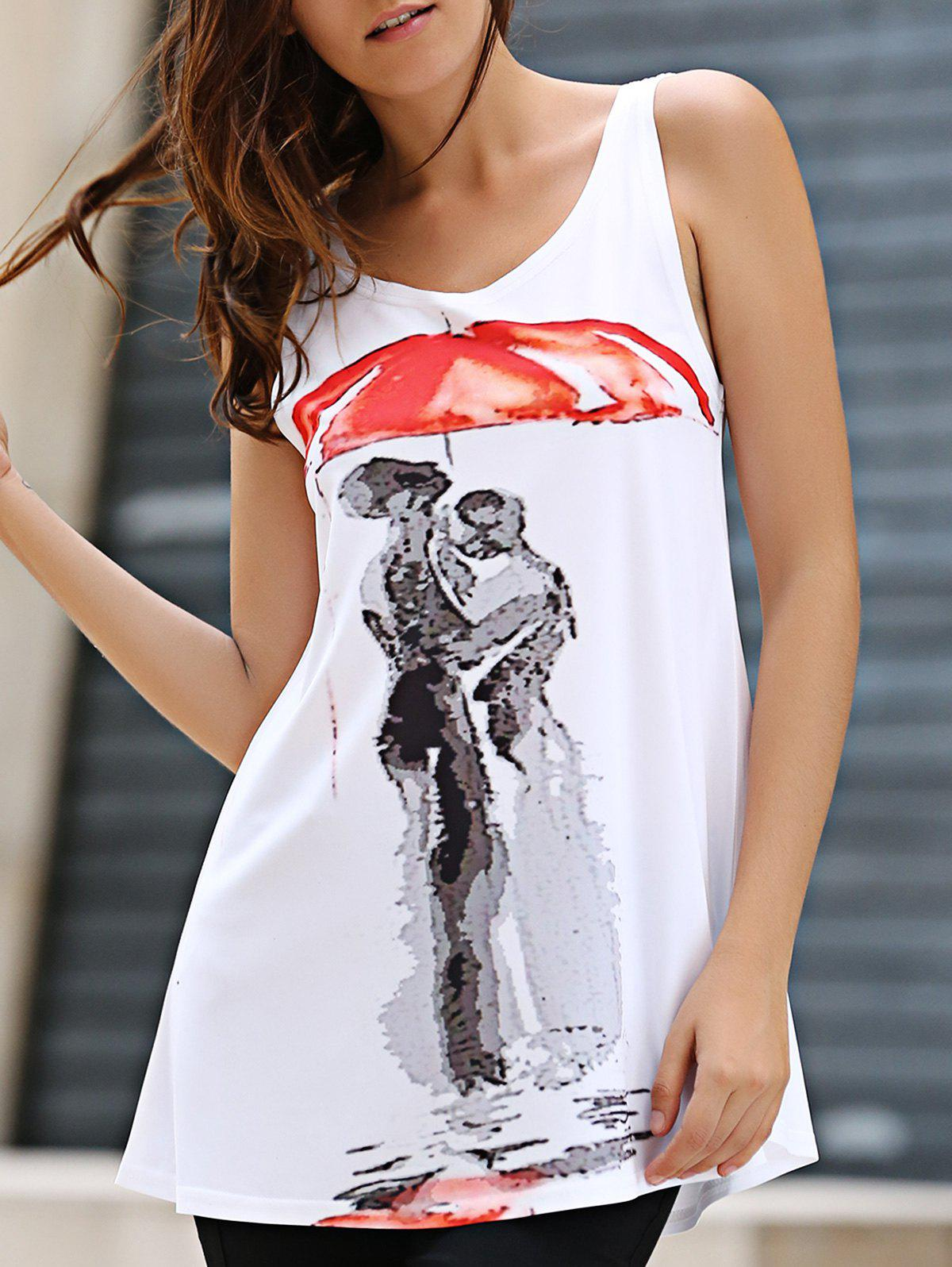 Simple Design Scoop Neck Red Umbrella Print Long Tank Top For Women - WHITE ONE SIZE(FIT SIZE XS TO M)