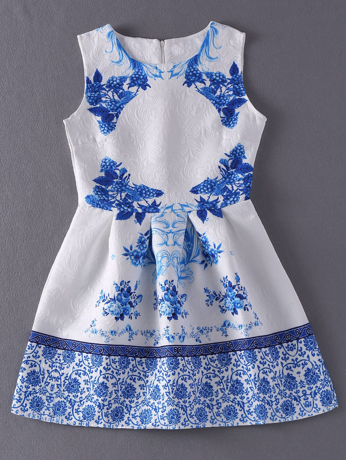 Vintage Style Women's Jewel Neck Sleeveless Floral Print Jacquard Dress - BLUE/WHITE S