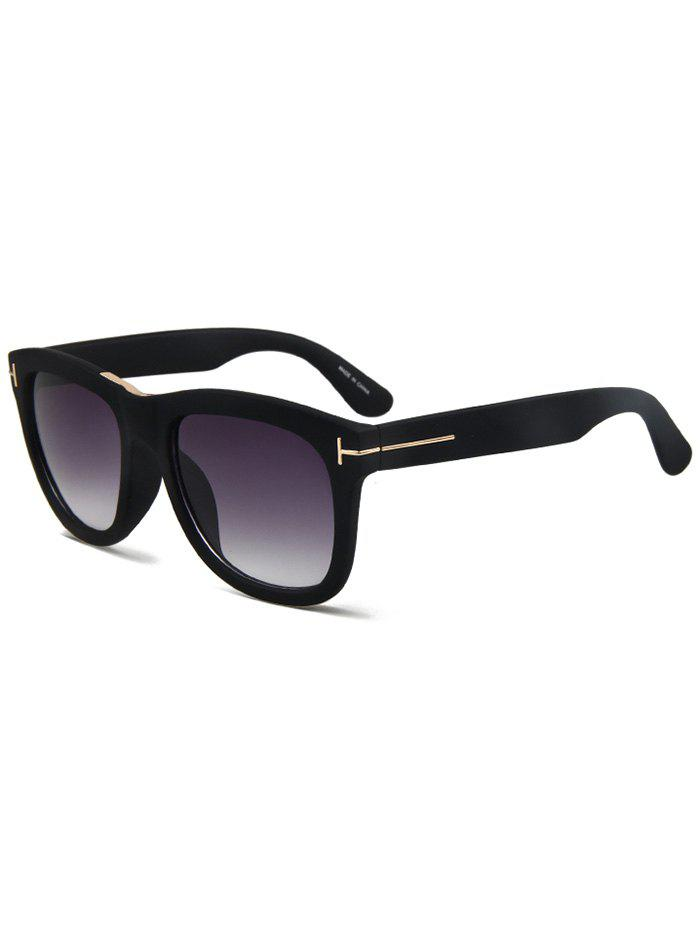 Chic Letter T Matte Black Square Sunglasses For Women - BLACK