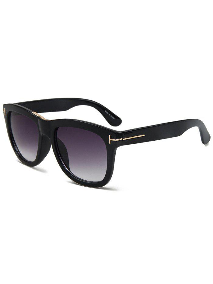 Chic Letter T Bright Black Square Sunglasses For Women - BLACK