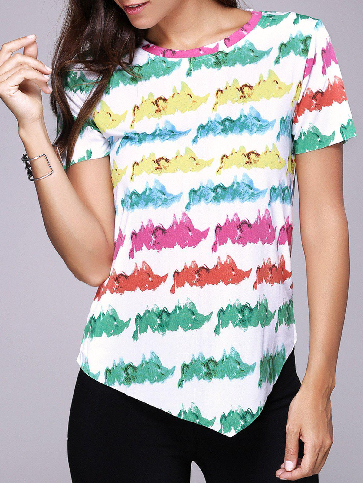 Stylish Colorful Print Round Neck Short Sleeve T-Shirt Top For Women - COLORMIX M