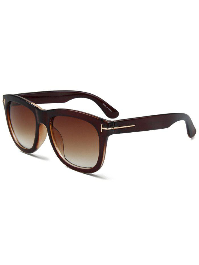 Chic Letter T Tea-Colored Square Sunglasses For Women - TEA COLORED