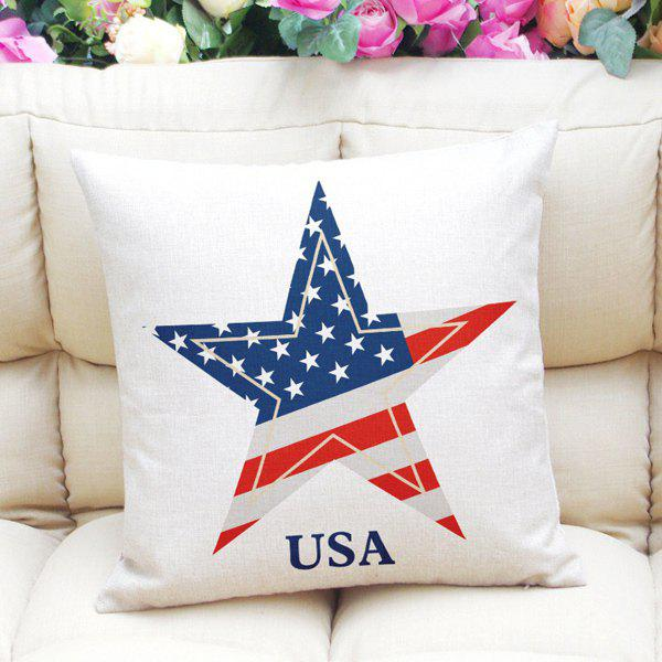 Chic The Stars and The Stripes Pattern Square Shape Pillowcase (Without Pillow Inner) - RED/WHITE/BLUE
