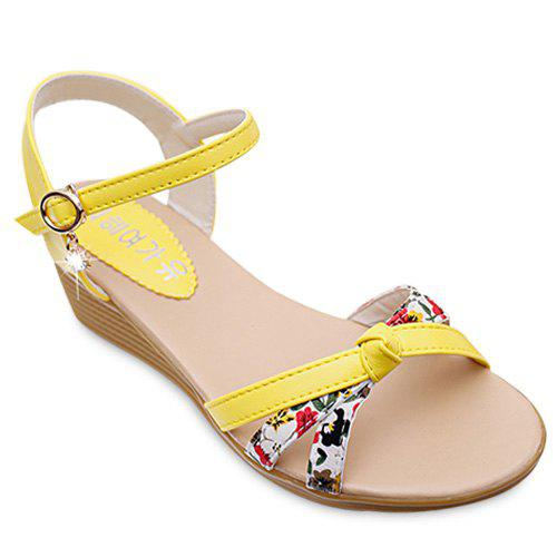 Leisure Rhinestone and Tiny Floral Print Design Women's Sandals - YELLOW 38