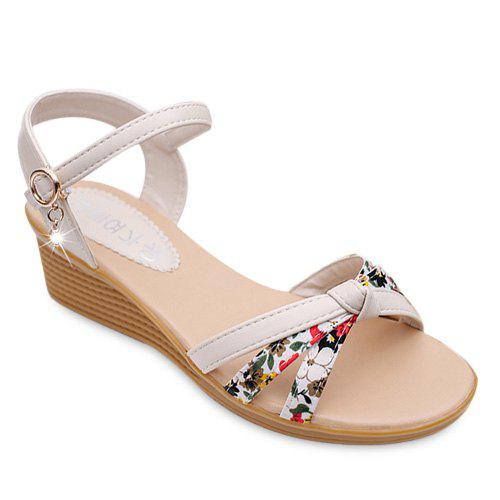Leisure Rhinestone and Tiny Floral Print Design Women's Sandals - OFF WHITE 39