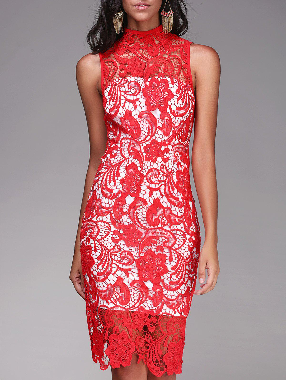 Fashionable Women's Round Neck Sleeveless Cut Out Lace Dress - RED XL