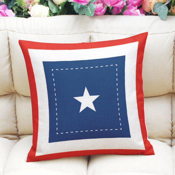 Simple Style Five-Pointed Star Pattern Square Shape Pillowcase (Without Pillow Inner) - RED/WHITE/BLUE