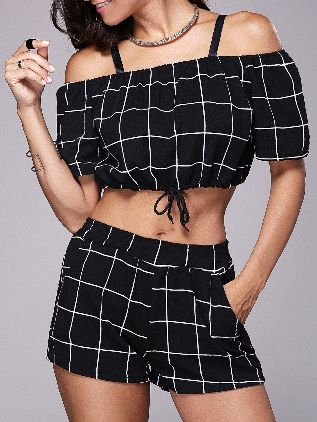 Checked Crop Top With Mini Short - BLACK XL