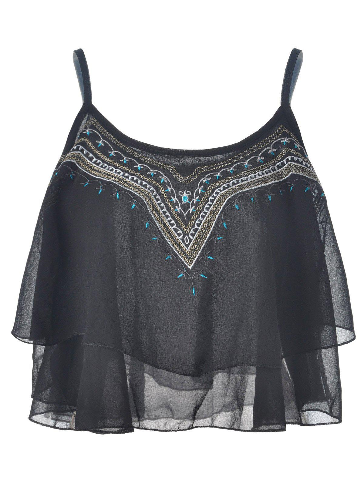 Ethnic Style Embroidery Spaghetti Strap Chiffon Tank Tops For Women - BLACK ONE SIZE(FIT SIZE XS TO M)