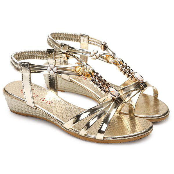 Sweet Metal and Elastic Band Design Women's Sandals - GOLDEN 39