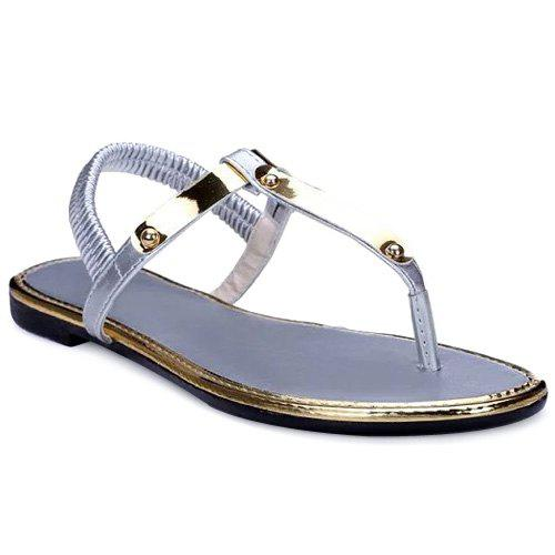 Casual Elastic Band and Flat Heel Design Women's Sandals - SILVER 39