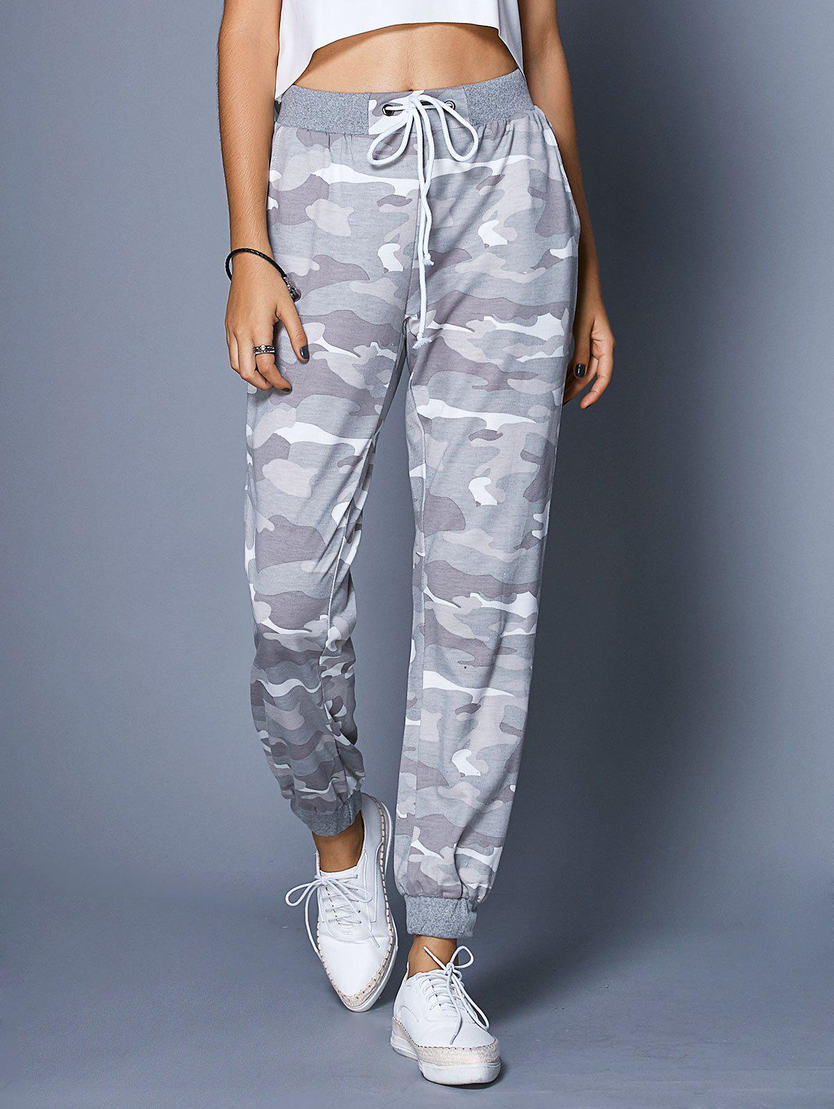 Chic High-Waisted Pocket Design Camo Print Women's Pants - COLORMIX L