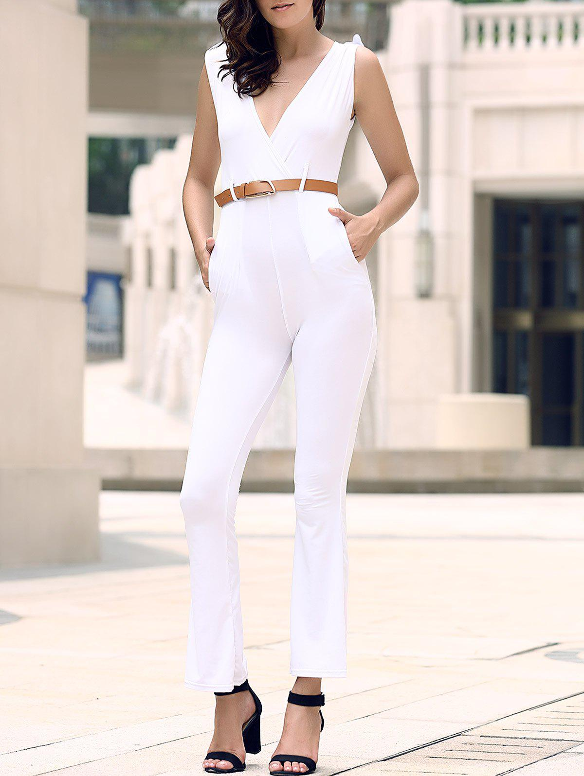 Epaulet Pockets High Waist Surplice Jumpsuit - WHITE XL