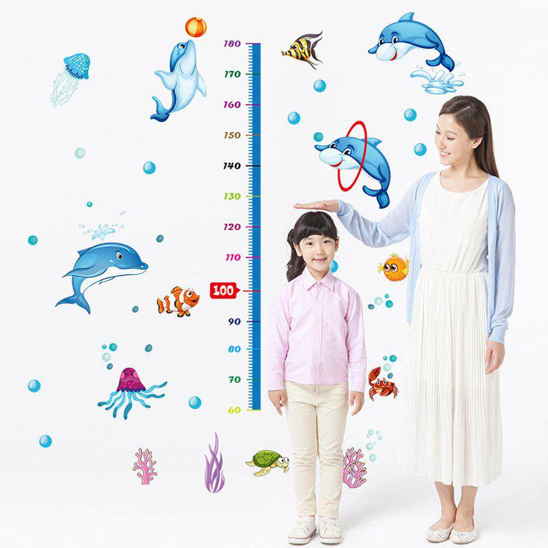 Cute Cartoon Dolphin Pattern Height Wall Sticker For Kindergarten Children's Bedroom - WATER BLUE
