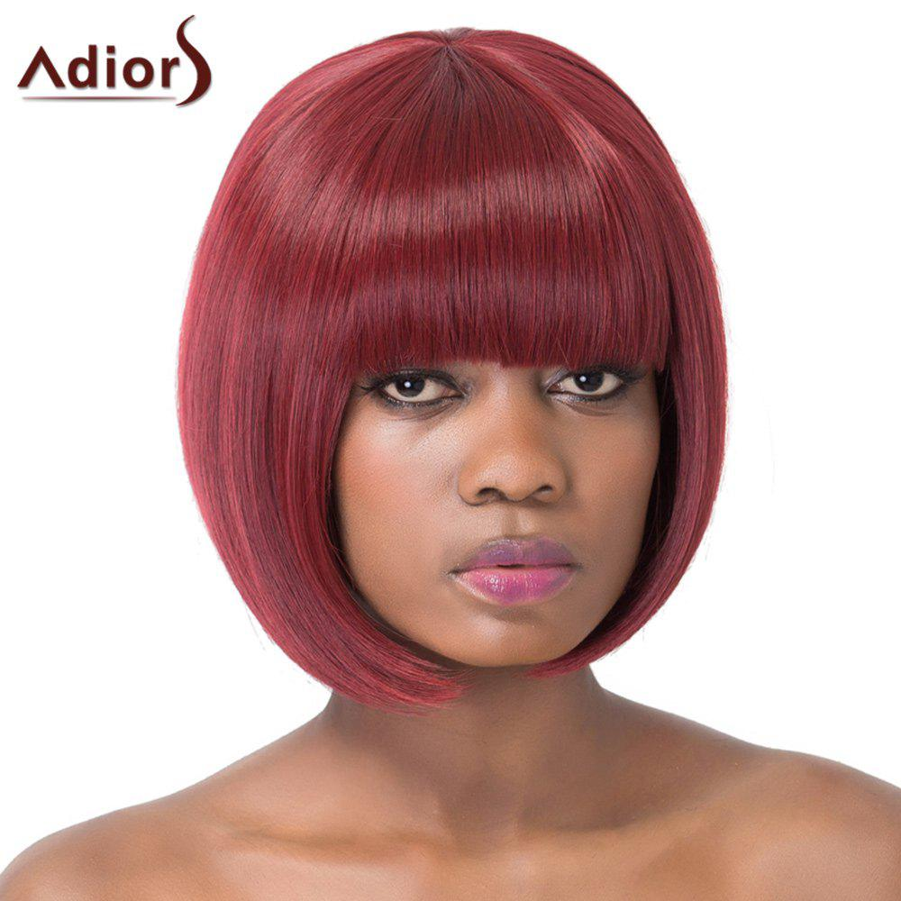 Sweet Wine Red Bob Style Short Straight Full Bang Synthetic Adiors Wig For Women - WINE RED