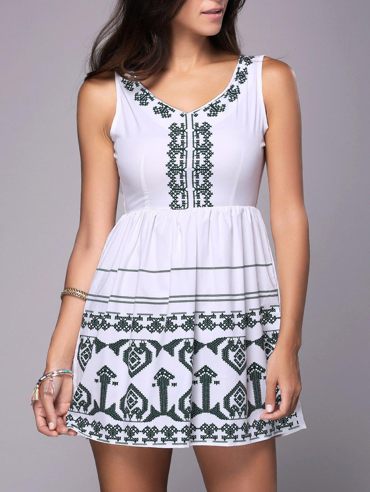 Sleeveless Cutout Embroidered Peasant Dress - WHITE M