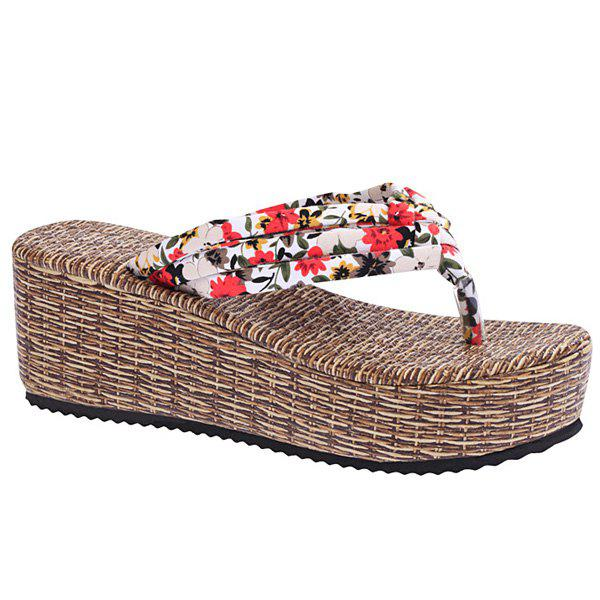 Sweet Platform and Tiny Floral Print Design Women's Slippers - 38 RED