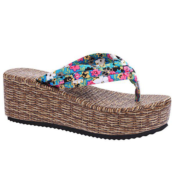 Sweet Platform and Tiny Floral Print Design Women's Slippers - BLUE 38