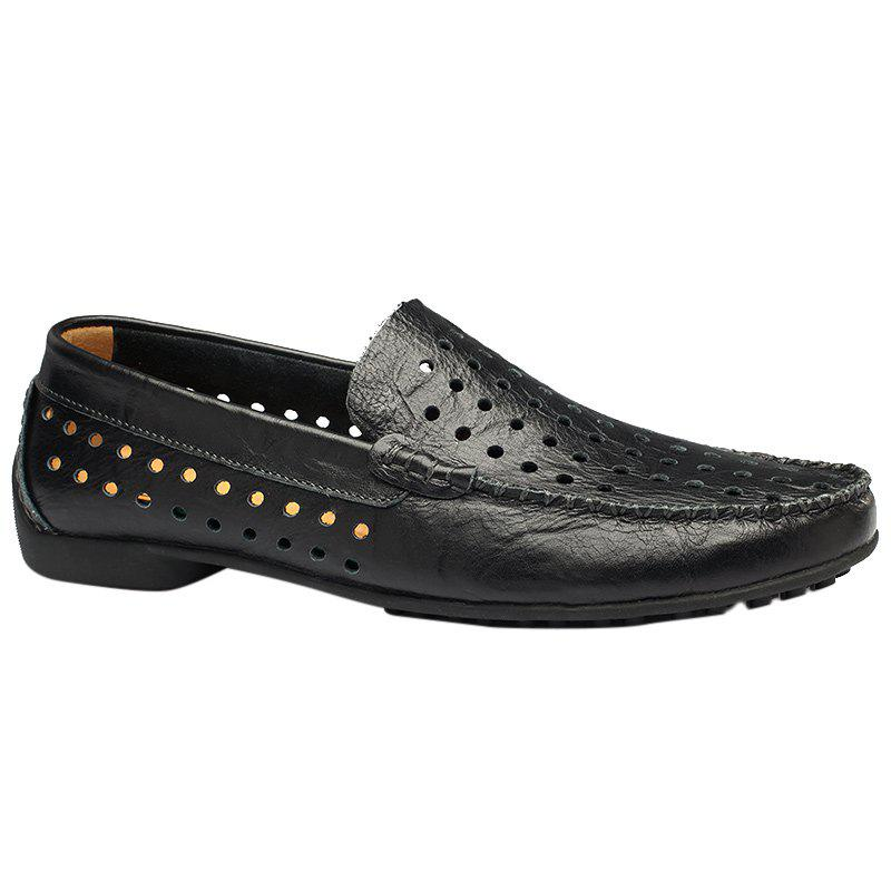 Casual Hollow Out and Round Toe Design Women's Loafers - BLACK 39
