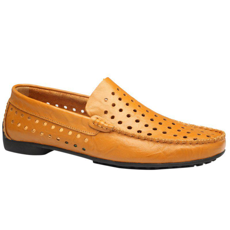 Casual Hollow Out and Round Toe Design Womens LoafersShoes<br><br><br>Size: 43<br>Color: LIGHT BROWN